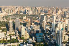 Cityscape of Bangkok city and skyscrapers buildings of Thailand., Panorama landscape of business and financial center of Thailand royalty free stock photo