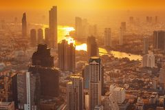 Cityscape of Bangkok city and skyscrapers buildings of Thailand., Panorama landscape of business and financial center of Thailand royalty free stock images