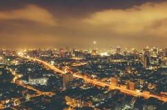 Cityscape of Bangkok at night Royalty Free Stock Images