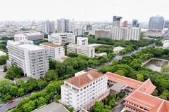 Cityscape of Bangkok on the roof top of the Chulalongkorn university Royalty Free Stock Photo
