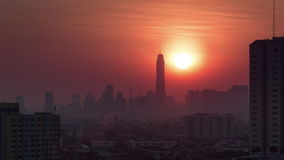Cityscape bangkok sunrise roof top panorama 4k time lapse thailand stock video footage