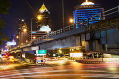 Cityscape Of Bangkok, Thailand. Urban Background. Bridge At Nigh Stock Images