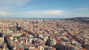 Cityscape of Barcelona. Aerial view stock footage