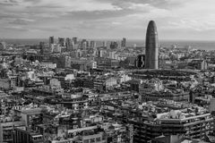 Cityscape of Barcelona black and white Stock Image