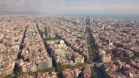 Cityscape of Barcelona. At sunny day. Aerial view stock video