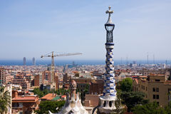 Cityscape Barcelona from Parc Guell Stock Images