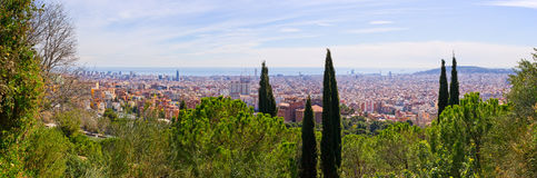 Cityscape of Barcelona from Park Guell, Spain Royalty Free Stock Photos