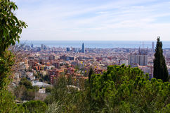 Cityscape of Barcelona from Park Guell, Spain Royalty Free Stock Photography