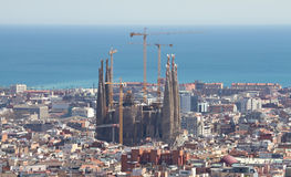 Cityscape of Barcelona with Sagrada Familia Royalty Free Stock Image