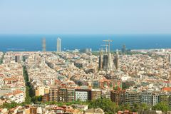 Cityscape of Barcelona with the sea on the background, Catalonia, Spain.  royalty free stock photo