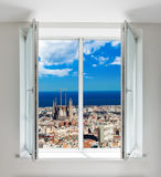 Cityscape of Barcelona seen through window Royalty Free Stock Photo