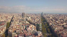 Cityscape of Barcelona. At sunny day. Aerial view stock footage