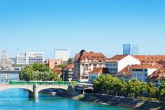 Cityscape of Basel and Middle bridge over Rhine. Switzerland Royalty Free Stock Photo