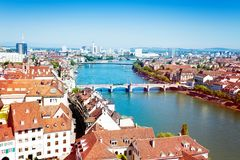 Cityscape of Basel and Rhine river in Switzerland stock photo