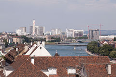 Cityscape in Basel - View along the Rhine Royalty Free Stock Photography