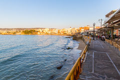 Cityscape and bay in city Chania/Crete Royalty Free Stock Image