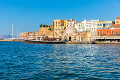 Cityscape and bay in city Chania/Crete Royalty Free Stock Photos