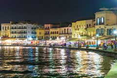 Cityscape and bay in city Chania/Crete/Greece Stock Photo