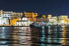 Cityscape and bay in city Chania/Crete/Greece, night Royalty Free Stock Photos