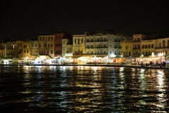 Cityscape and bay in city Chania/Crete/Greece Royalty Free Stock Photos