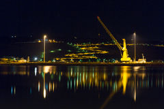Cityscape and bay in city Chania/Crete/Greece , night Royalty Free Stock Image