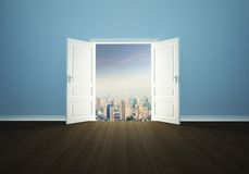 Cityscape behind the door Royalty Free Stock Photography