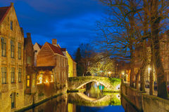 Cityscape with Belfort and the Green canal in Bruges Royalty Free Stock Photos