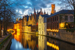 Cityscape with Belfort and Green canal in Bruges Stock Image