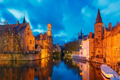 Cityscape with Belfort from Rozenhoedkaai in Bruges Royalty Free Stock Photo