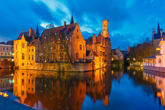 Cityscape with Belfort from Rozenhoedkaai in Bruges Royalty Free Stock Photography
