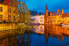 Cityscape with Belfort from Rozenhoedkaai in Bruges Stock Photo