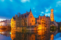 Cityscape with Belfort from Rozenhoedkaai in Bruges Stock Images