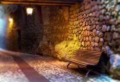Cityscape.Bench and street Royalty Free Stock Images