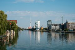 Cityscape of Berlin city / view over river Spree on Tv Tower fro. Berlin, Germany - august 2018: Cityscape of Berlin city / view over river Spree on Tv Tower royalty free stock images