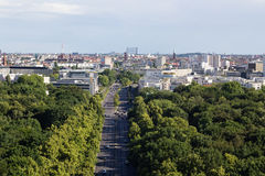 Cityscape of Berlin with Tiergarten park in foreground Royalty Free Stock Images