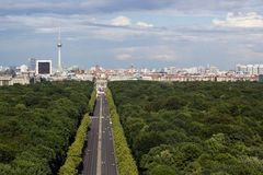 Cityscape of Berlin with Tiergarten park in foreground Royalty Free Stock Photos