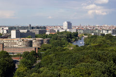 Cityscape of Berlin with Tiergarten park in foreground Stock Image