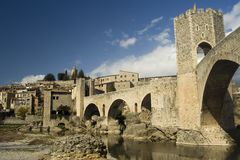 Cityscape of Besalu, Spain Stock Photos