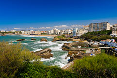 Cityscape of Biarritz. View of arbor, beach and buidings Stock Photo