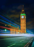Cityscape of Big Ben and Westminster Bridge at night in London Stock Photos