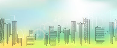 Cityscape. Big city skyline at night, detailed silhouette. Trendy vector illustration, linear style Stock Images