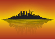 Cityscape bij dageraad Stock Afbeelding