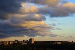 Cityscape bij dageraad Stock Fotografie