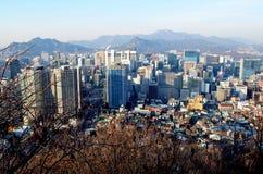 Cityscape bij de Toren van N Seoel, Seoel, Zuid-Korea stock foto