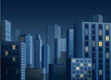 Cityscape bij nacht vectorachtergrond Royalty-vrije Stock Afbeeldingen