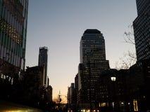 Cityscape bij schemer, de lagere Stad van Manhattan New York stock fotografie