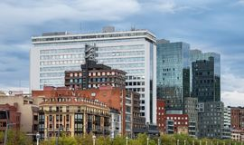 The cityscape of Bilbao, Spain. The Nervion river crosses Bilbao downtown stock photos