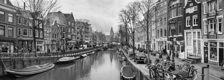 Cityscape, Black-and-white Panorama - View Of City Channel With Boats Stock Photography