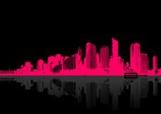 Cityscape on black background. Stock Photography