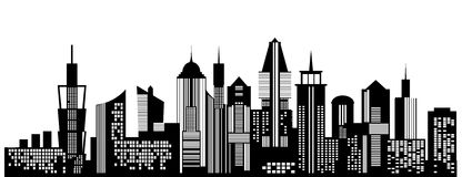 Cityscape black icon on white background. Skyline silhouette. Town architecture skyscrapers. Urban city landscape. Megapolis panorama. Vector new york building Stock Images